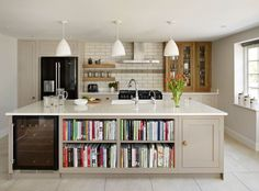 Harvey Jones storage kitchen - good storage, too big an island, experience says it'd end up cluttered!