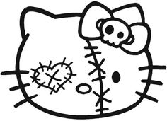 Scary Halloween Hello Kitty Coloring Pages See More Patched Zombie Head