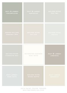 Paint Color Trends for 2014 (Whitney English) - For over a year, I've been working with my friend, Holly Mathis, on updating my house. Interior Paint Colors, Paint Colors For Home, House Colors, Interior Painting, Gray Interior, Paint Colours For Hallway, Interior Ideas, Natural Paint Colors, Indoor Paint Colors