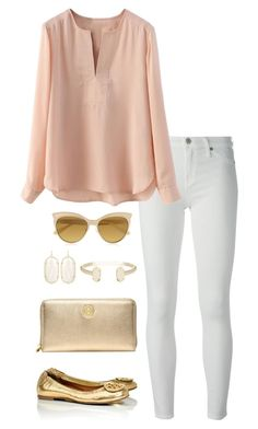 """blush&gold"" by kcunningham1 ❤ liked on Polyvore featuring 7 For All Mankind, Tory Burch, Kendra Scott and Vivienne Westwood"