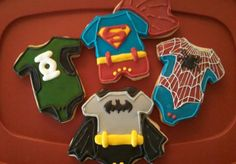 Super hero's were the theme of this baby shower.