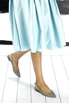 Black & white striped slingback flats with pointed toes.  Jeans or skirt - perfect!