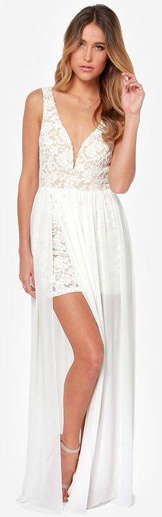 Stunning Ivory Lace Maxi Dress