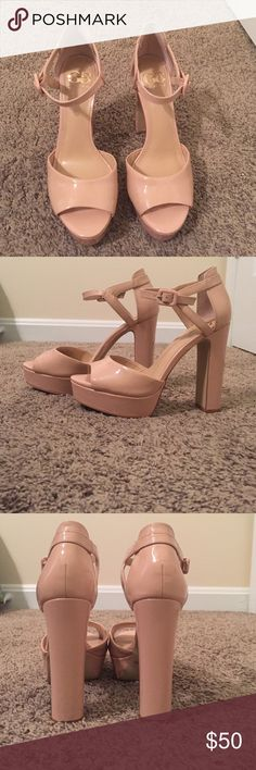 Gianni Bini patent leather chunky heels size 6.5 These chunky heels by Gianni Bini are are super cute! They are a pinky/nude color in size 6.5. Only worn once for a wedding. There are a few minor scuffs, but hardly noticeable unless you're really inspecting Gianni Bini Shoes Heels