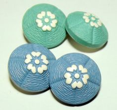 4 Vintage Buffed celluloid buttons Blue & Green