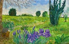 GALERIA PALOMO MARIA LUISA: Lirios en flor Hermann Hesse, Painting, Art, Flower, Irises, Watercolor Painting, Scenery, Art Background, Painting Art