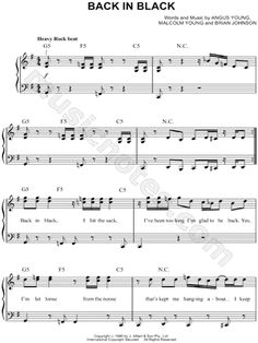 I found digital sheet music (easy piano) for Back In Black by AC/DC from 1980 at Musicnotes.