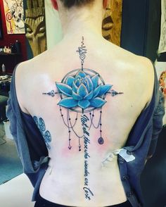 """My new #tattoo 😍 Items I chose which were brought together into a #sketch by our tattoo artist and then finalised by me into THIS. All items of it are centered aroud the same theme: #life. A #lotus will not #grow with beautiful #flowers without mud. Let the mud be a reason to grow into a beautiful person by learning from it. The #unalome illustrates that life is far from a straight line while searching for the #path you want to wander on. The quote from J.R.R. Tolkien: """"Not all those who…"""