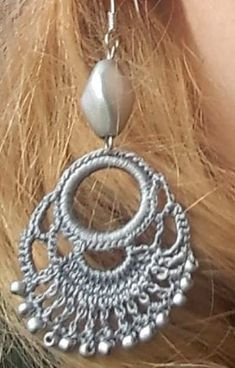 Idea for crochet earrings Crochet Earrings Pattern, Crochet Bikini Pattern, Bead Crochet, Crochet Baby, Crochet Patterns, Tatting Earrings, Macrame Earrings, Diy Jewelry, Jewelery
