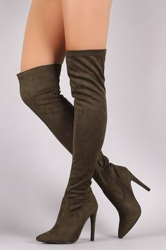 Suede Fitted OTK Pointy Toe Stiletto Boots