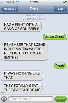 Texts from the dog - squirrels