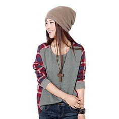 Misscat Korean Women Casual Round Neck Splice Plaid Long Sleeve Base T-shirt