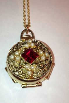 SOLD! Ruby and Pearl Coro 4 Picture Locket Vintage Accessories, Vintage Jewelry, Vintage Clothing, Vintage Outfits, Vintage Ladies, Diamonds, Pearls, Christmas Ornaments, Holiday Decor