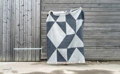 Modern Light Gray and Charcoal Geometric Pattern Luxury Merino Wool Throw Blanket