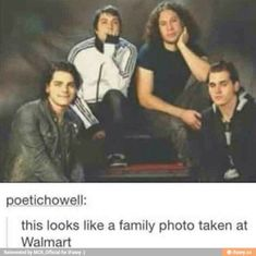 Oml Gerard is the dad, Frank is the mom, Mikey is the uncle, and Ray is the child..... BOOM!!