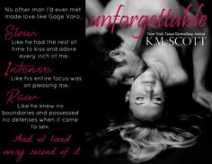Gage and Jordan from The Heart of Stone series in their spinoff novel, Unforgettable, coming October 11, 2015!