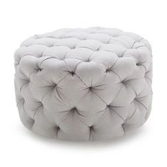 An all-around indispensable accent piece, the Belham Living Allover Round Tufted Ottoman - Gray really brings a room together. Round Tufted Ottoman, Grey Ottoman, Ottoman Decor, Square Ottoman, Ottoman Footstool, Fabric Ottoman, Ottomans, Living Room Furniture, Home Furniture