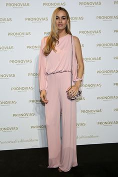 Spanish socialite Carmen Jordá in a jumpsuit from Pronovias Cocktail 2017 Collection