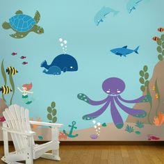 wandmalerei kinderzimmer unterwasser welt abbildung