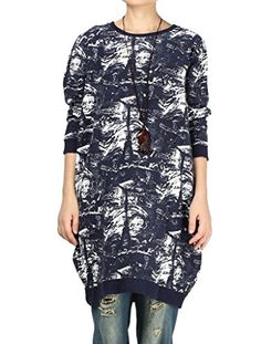 Mordenmiss Womens SpringFall Cotton Dress Long Tops Style 4MBlue * More info could be found at the image url.