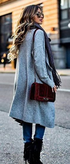 Grey Coat + Burgundy Velvet Shoulder Bag