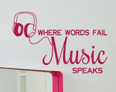 Vinyl Decal Where words Fail Music Speaks quote wall sticker with headphones graphic, teens bedroom decor, musical decoration
