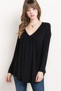 Babydoll Long Sleeve Tunic- Black