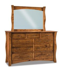 Amish Reno Large Nine Drawer Dresser with Optional Mirror Solid wood Reno Dresser offers lots of storage. Custom made in choice of wood and finish. Made by the Amish in Indiana. #dresser #bedroom #bedroomdresser #bedroomstorage