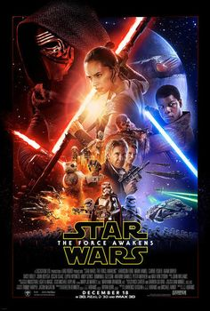 """Behold the action-packed """"Star Wars: The Force Awakens"""" movie poster! Han Solo and Princess Leia! Chewbacca ready to fight! R2-D2, C-3PO and BB-8 droids! Plus new characters Rey, Finn and Kylo Ren get top billing. But where's Luke Skywalker?"""