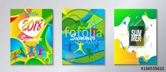 tropical Hello Summer Abstract composition geometric dynamic colorful shapes modern bright color design template set. Festival, Carnival, Attraction, kids, sport, camp flyers travel around world concept.