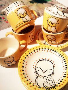 handpainted vintage dishes by Juliette Crane. http://juliettecrane.com I just adore this artist :)