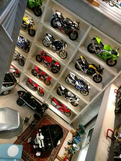 my next garage!  their collector bikes!  why?  am stuck in the house!  see why now?  laughing at life!  Displayed