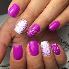 Purple swirls nail art design | Маникюр | Видео уроки | Art Simple Nail