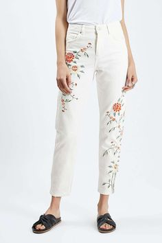 MOTO Floral Embroidered Mom - New In This Week - New In - Topshop