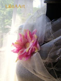 ''Love is all around'' - star felted flower brooch by LanAArt
