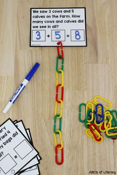 These Connect Links Addition Word Problem Cards are a fun, hands-on way for kids to practice reading and solving addition word problems. Connecting the links together is not only a great way for children to visually see addition, but it also helps them develop their fine motor skills too. These cards can be used for math centers, morning tubs, or as an enrichment activity for early finishers. Click on the picture to learn more about this addition word problem activity! #wordproblems #addition