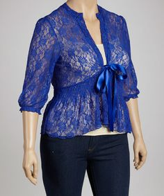 Take a look at this Blue Lace Top - Plus by C.O.C. on #zulily today!