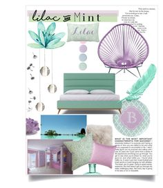 """A lilac sea of fresh mint - bedroom"" by the-northern-lights-shine ❤ liked on Polyvore featuring interior, interiors, interior design, home, home decor, interior decorating, BCBGMAXAZRIA, Natures Collection, Deborah Lippmann and H&M"