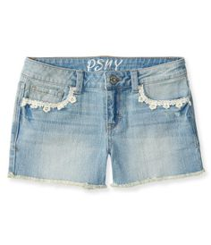 Kids' Crochet Trim Light Wash Denim Shorty Shorts - PS From Aéropostale®