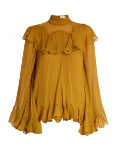 Chloé High-neck silk-crepon ruffled blouse . Too bad it isn't a different color and also 300 times cheaper.