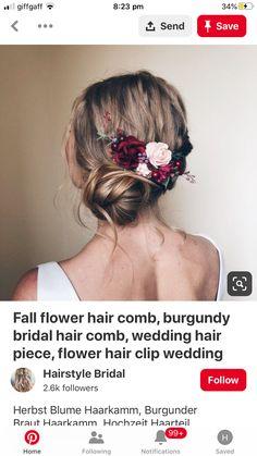 Wedding Hair Clips, Wedding Hair Pieces, Bride Hair Flowers, Flower Hair Clips, Fall Flowers, Bride Hairstyles, Hair Comb, Updos, Bridal Hair