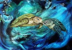 """Liebe unter Wasser"" by Beatrice Gugliotta, Animals: Water, Nature: Water, Painting Web Design, Nature Water, Age, Turtle, Pets, Modern, Artist, Painting, Animals"