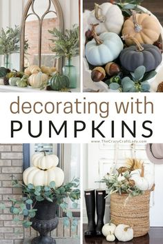 Come browse my favorite images for fall inspiration and ideas for decorating with pumpkins. Bring a touch of autumn into your home decor, outdoor decorating, tablescapes, and porch decor. Thanksgiving Decorations Outdoor, Thanksgiving Diy, Thanksgiving Table Settings, Outdoor Decorations, Fall Decorations, Modern Fall Decor, Fall Home Decor, Autumn Home, Pumpkin Crafts