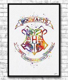 Instant-Digital Download Hogwarts Kamm Aquarell Print von ArtsPrint