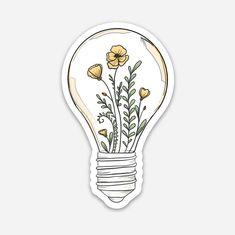 Flowers in Lightbulb Laptop Sticker Stickers Cool, Preppy Stickers, Cute Laptop Stickers, Bubble Stickers, Printable Stickers, Journal Stickers, Planner Stickers, Notebook Stickers, Homemade Stickers