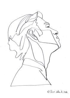 """""""profil perdu 44″, continuous line drawing by Boris Schmitz"""