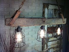 I like some of the elements of this rustic light. Really close to what I want to build. Pool Table Lighting, Loft Lighting, Rustic Lighting, Industrial Lighting, Island Lighting, Lighting Ideas, Wood Chandelier, Chandeliers, Urban Rustic