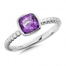 Sterling Silver Amethyst Stacking Ring - Amethyst stackable ring with our signature rope texture in sterling silver can be worn alone or combined with your favorite styles from the Colore? Stackable Rings, Diamond Jewelry, Heart Ring, Fine Jewelry, Amethyst, Fashion Jewelry, Gemstone Rings, Engagement Rings, Gemstones