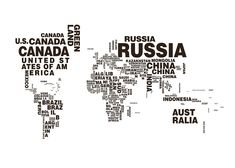Black and white world map with text.