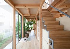 Tokyo by Fujiwalabo Architects light filled corridor, storage beneath staircase Layouts Casa, House Layouts, Space Architecture, Contemporary Architecture, Interior Stairs, Interior And Exterior, Space Interiors, House Stairs, Prefab Homes